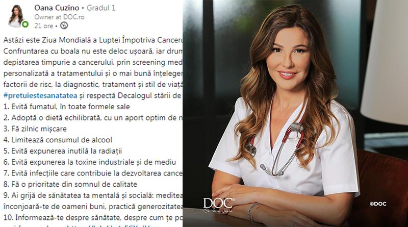 Mesajul Oanei Cuzino pentru Ziua Mondială a Luptei Împotriva Cancerului.